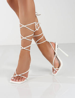 Lacey White Pink Square Toe Strappy Lace Up Heels
