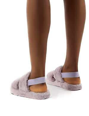 Lullaby Lilac Fluffy Strap Back Slippers