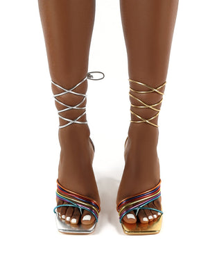 Luckystar Multi Square Toe Wrap Around Ankle Strappy Heels