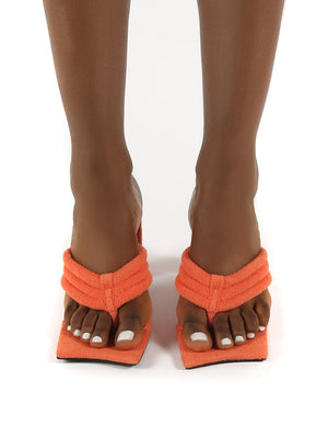 Resort Orange Towelling Thong Strap Flat Block Heeled Mules