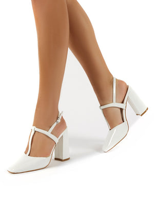 Romy White Closed Toe Block Heels