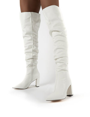 Theirs White PU Over the Knee Boots