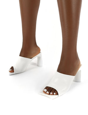 Vice PU White Square Toe Block Heel Mules