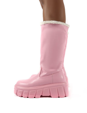 Wynter Pink Shearling Lined Knee High Ankle Boots