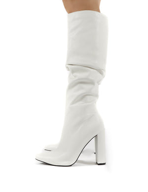 Yours White PU Heeled Knee High Block Boots