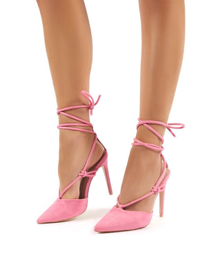 Bardot Pink Strappy Lace Up High Heel