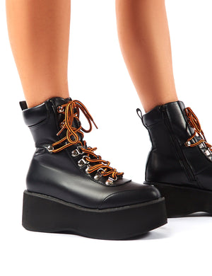 Willow Black Flatform Lace Up Ankle