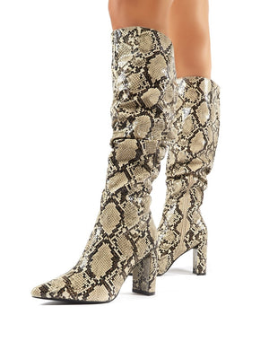 Mine Snakeskin Knee High Boots