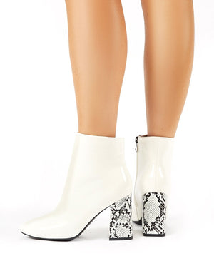 Vesper Contrast Heeled Ankle Boots in White