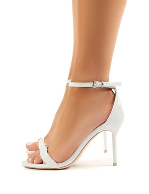 Rule White Snakeskin Stiletto Heel Barely Theres