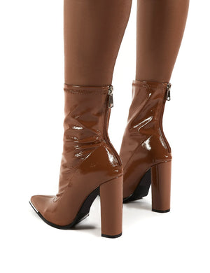 Affection Camel Patent Block Heeled Ankle Boots