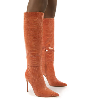 Aimi Orange Croc Knee High Stiletto Heel Boots