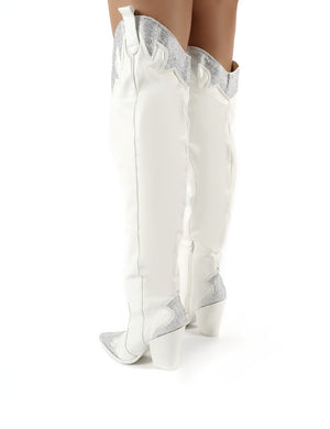 Brandy White Diamante Western Block Heeled Knee High Boots