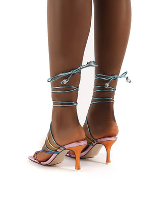 Cabo Multi Strappy Lace Up Square Toe Kitten Heels