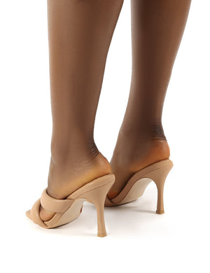 Calm Nude PU Wide Fit Padded Straps Heeled Mules