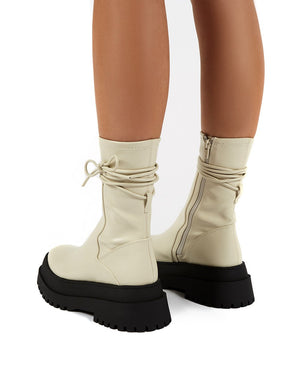Finale Bone Chunky Sole Ankle Wrap Boots