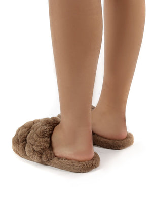 Minky Tan Fluffy Double Strap Slippers