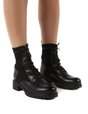 Outrage Black Lace Up Ankle Boots