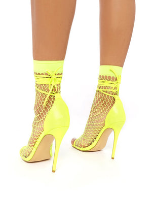 Sunrise Neon Yellow Fishnet Peeptoe Stiletto Heels
