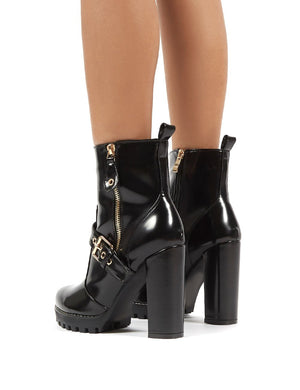 Tiki Blac Patent Rose Gold Buckle Detail High Heeled Ankle Boots
