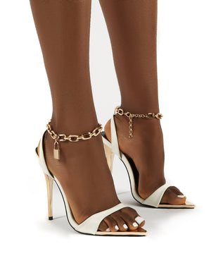 Triumph White Lock Chain Detail Anklet Strap Stiletto Heels