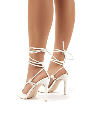 Bardot Wide Fit White PU High Heels