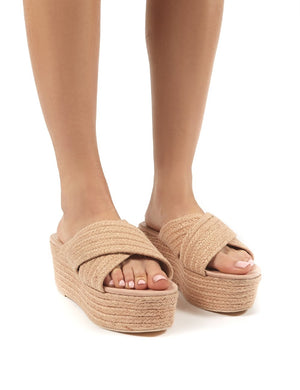 Breeze Pink  Cross Over Espadrille Flatform Sandals