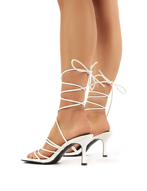 Cabo White Strappy Lace Up Square Toe Kitten Heels