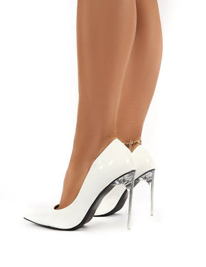 Distraction White Patent Court Perspex High Heels with Gold Anklet