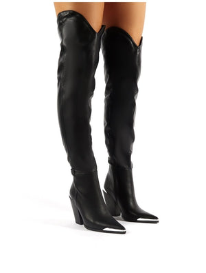 Honor Black Western Block Heeled Knee High Boots