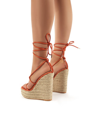 Luciana Orange Lace Up Espadrille Wedge Heeled Sandals