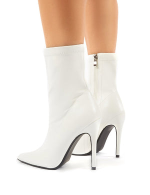Must White PU Sock Fit Stiletto Heeled Ankle Boots