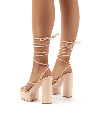 Spaghetti Nude Lace Up Cleated Platform Block High Heels