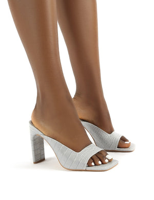 Abelle Grey Croc Square Toe High Heeled Mules