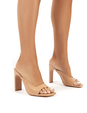Abelle Nude Toe Square High Heels
