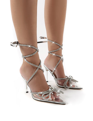 Afterhours Silver Wide Fit Diamante Bow Tie Ankle Court Heels