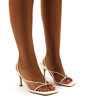 Annika White Wide Fit Strappy Heels