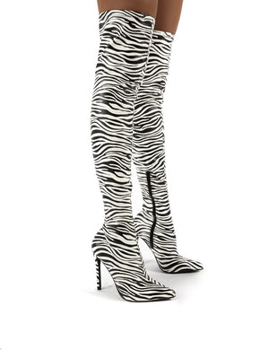 Confidence Zebra Stiletto Heeled Over the Knee Boots