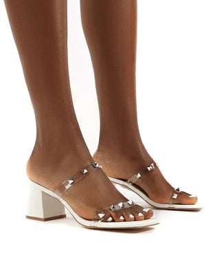 Forever White Square Toe Studded Strap PU Block Heel Mule Sandals