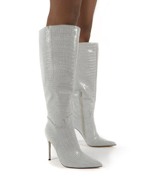 Go Wide Fit Grey Knee High Pointed Toe Stiletto Heeled Boots