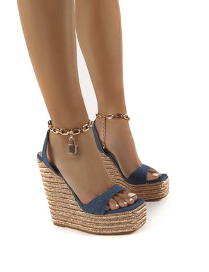 Idolize Demin Padlock and Chain Detail Wegded Heels
