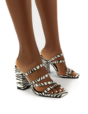 Kalia Wide Fit Zebra Block Heel Strappy Mules