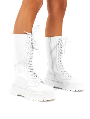 Kendall White PU Lace Up Chunky Knee High Boots