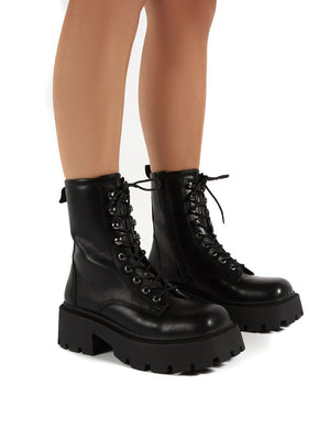 Leader Black Lace Up Chunky Sole Biker Boots