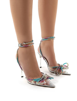 Midnight Multi Wrap Around Diamante Bow High Heel