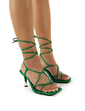 Orion Green Wide Fit Lace Up Ankle Square Toe Kitten Heels