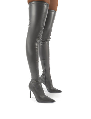 Reaction Grey Pu Stiletto Heeled Over The Knee Boots