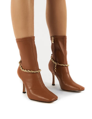 Sacci Camel Wide Fit Chain Detail Square Toe Stiletto Heel Ankle Boots