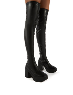 Superb Black PU Block Heeled Over the Knee Boots