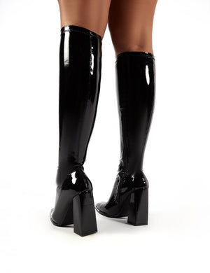 Caryn Black Vinyl Wide Fit Block Heeled Knee High Boots